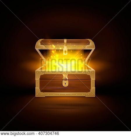 Shine In Old Wooden Chest Realistic Composition Of Treasure Coffer With Open Lid And Golden Particle