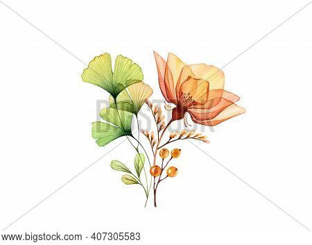 Watercolor Rose Bouquet. Transparent Orange Flowers With Green Ginkgo Leaves Isolated On White. Hand