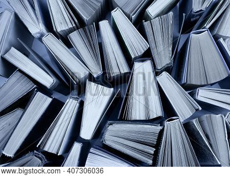 Book Background. Old Books In The Library. Bookshelf Shop. Knowledge, Publications, Literature. Book