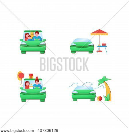 Getaway Car Flat Icons Set. Relax And Travel By Automobile Concept. Contains Such Icons As Picnic, B