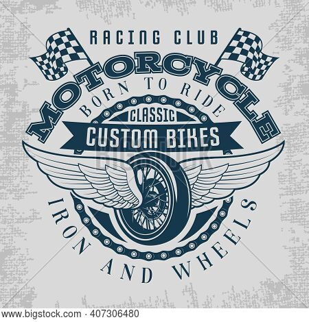 Wheel And Wings Print With Descriptions Of Racing Club Classic Custom Bikes Iron And Wheels Vector I