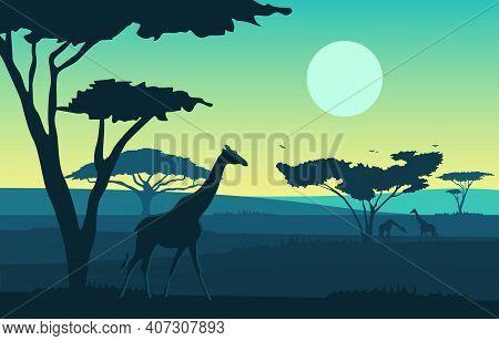 Giraffe Tree Animal Savanna Landscape Africa Wildlife Illustration