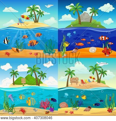 Sea Underwater Life Backgrounds Set With Fishes Seahorse Jellyfish Starfish Shells Crab Seaweed On T