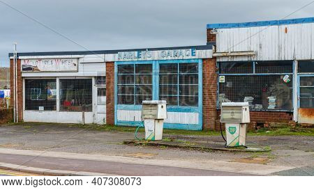Mold, Flintshire; Uk: Jan 28, 2021: Abandoned Premises Which Were Previously Occupied By Harley's Ga