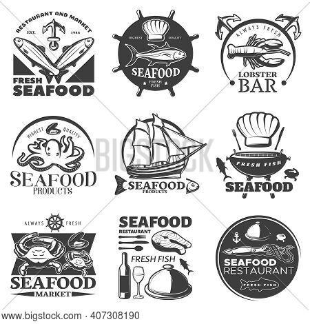 Black Seafood Emblem Set With Restaurant And Market Fresh Seafood Highest Quality Seafood Fresh Fish