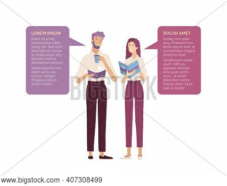 Young Bearded Man And Pretty Woman Enjoying With Books And Cup Of Coffee Together. Vector Compositio