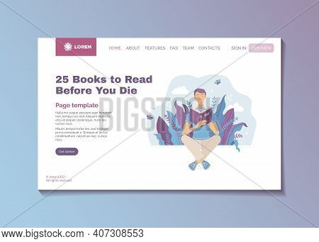25 Books To Read Before You Die Concept. Bestsellers And Masterpieces Guide Landing Page Template. Y