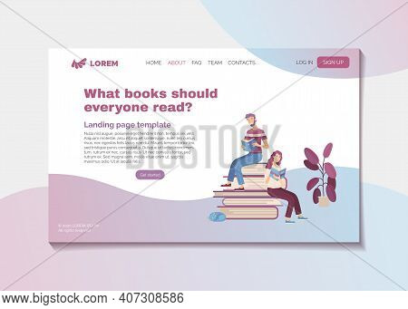 What Books Should Everyone Read. Bestsellers And Masterpieces Guide Landing Page Template. Young Smi