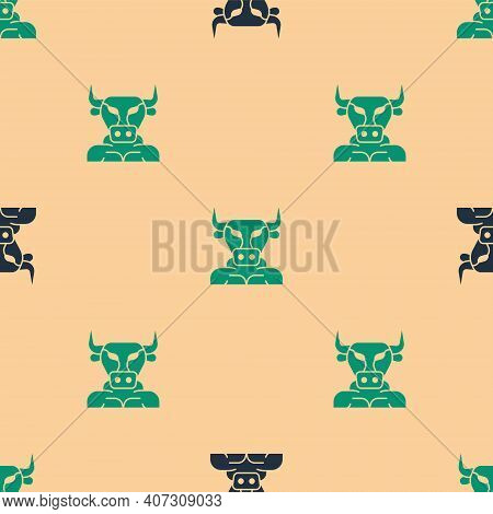 Green And Black Minotaur Icon Isolated Seamless Pattern On Beige Background. Mythical Greek Powerful