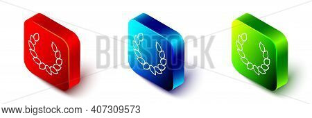 Isometric Laurel Wreath Icon Isolated On White Background. Triumph Symbol. Red, Blue And Green Squar