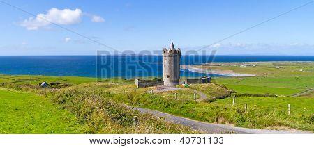 Panorama of Doonagore castle near Doolin in Ireland