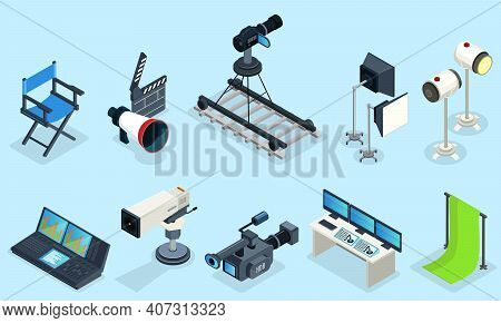 Isometric Cinematography Elements Set With Director Chair Different Video Cameras Clapper Projectors