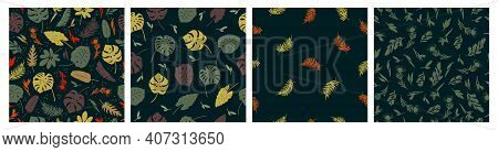 Vector Set Of Seamless Patterns Of Tropical Leaves, Plants, Flowers On Dark Green. Beautiful Print W