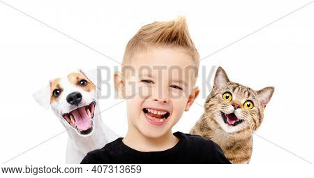 Portrait Of Happy Smiling Boy With A Dog Jack Russell Terrier And A Cat Scottish Straight, Closeup,
