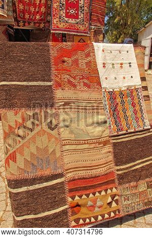 A Beautiful Interesting Background With Handmade Turkish Rugs In Close-up