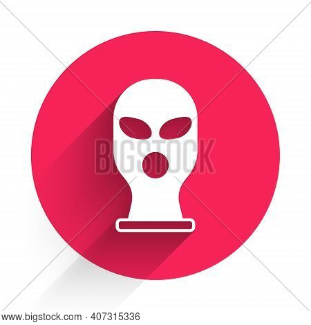 White Balaclava Icon Isolated With Long Shadow. A Piece Of Clothing For Winter Sports Or A Mask For