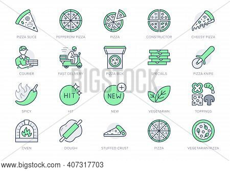 Pizza Delivery Line Icons. Vector Illustration Set With Icon As Cheese Slice, Courier, Box, Pepperon