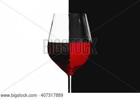 A red wine wineglass light refraction. 3D illustration
