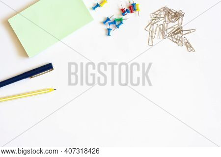 Stationery For Notes Paper Pen Pencil Paper Clips And Stationery Buttons Flat Lay Copy Space
