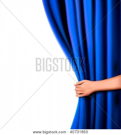 Background with blue velvet curtain and hand. Raster version of vector.