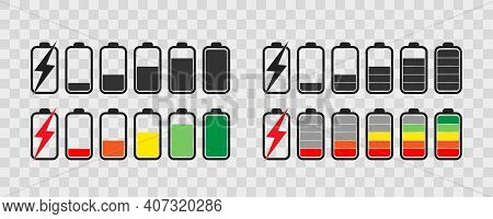 Battery Icon Set . Collection Of Charge Battery Level Indicators. Charge Indicator , Vector Illustra
