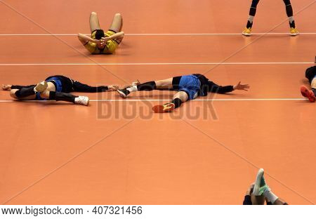 Training And Volleyball Tournament. Sports Teams Competition.