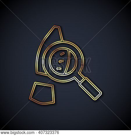 Gold Line Magnifying Glass With Footsteps Icon Isolated On Black Background. Detective Is Investigat