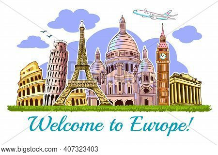 Colored Europe Buildings Travel Poster With Building Of  The Main Attractions Of Europe Vector Illus