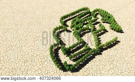 Concept or conceptual group of green forest tree on dry ground background, sign of a racing car. A 3d illustration metaphor for motorsport, competition, race, speed and power