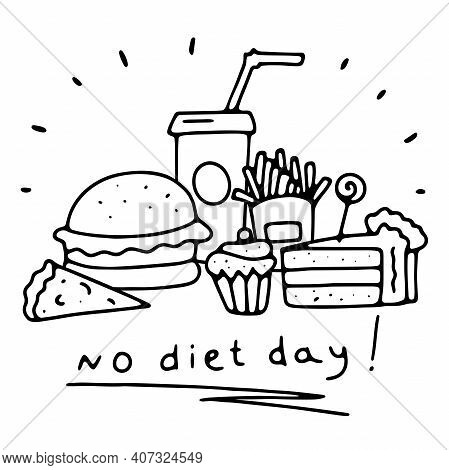 Doodle No Diet Day Banner. Outlines Fast Food, Sweets With Lettering Isolated On White Background. M