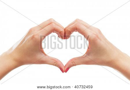 Beautiful female hands isolated on white