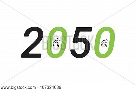 Carbon Neutrality By 2050. Free Neutral Co2 Background. Zero Carbon Emissions. Vector Illustration C