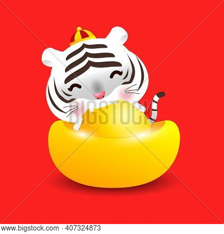 Little White Tiger With Chinese Gold Ingots And Happy Chinese New Year 2022 Year Of The Tiger Zodiac