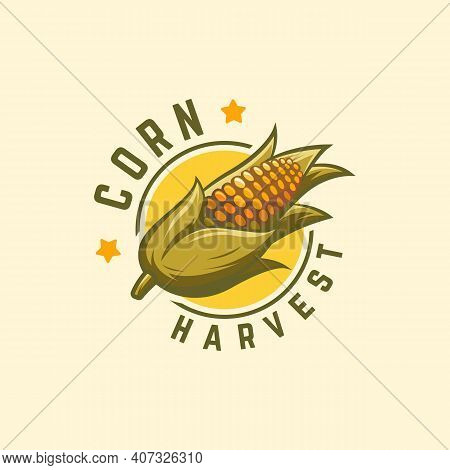 Cool Badge Corn Harvest Logo Designs Concept Vector, Corn Logo Symbol, Agriculture Symbol