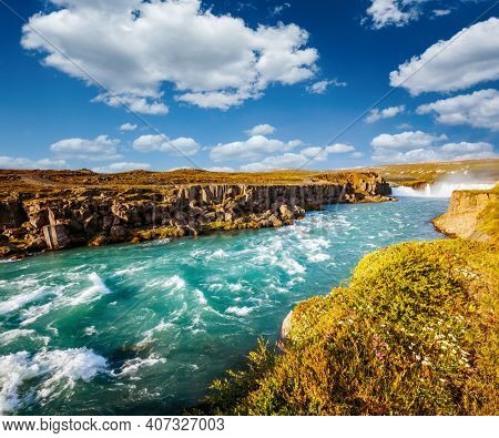 Captivating view of the stormy Skjalfandafljot river. Location place Iceland, Europe. Vibrant photo wallpaper. Image of most popular world landmarks. Discover the world of beauty.