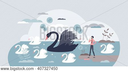 Black Swan Outlier As Negative Global Financial Effect Tiny Person Concept