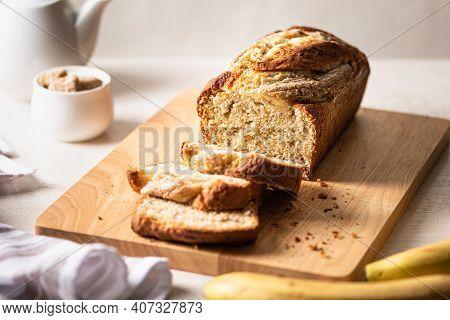 Fresh Homemade Banana Bread On Light Background.