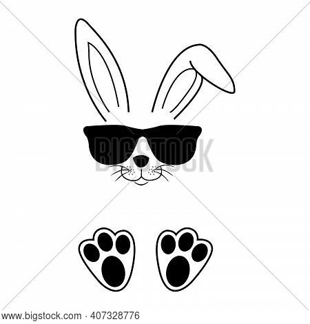 Easter Bunny In Beautiful Style On White Background, Hand Drawn Face Of Bunny. Greeting Card With Ha