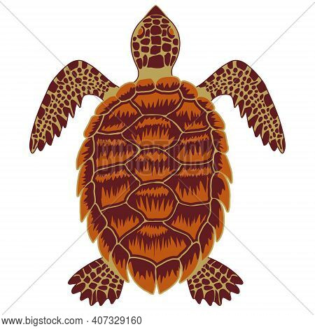 Hawksbill Sea Turtle Simple Vector Icon. Simple Flat Illustration Of Critically Endangered Tortoise