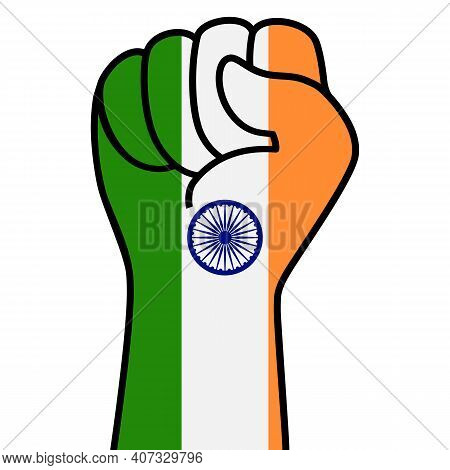 Raised Indian Fist Flag. Indian Hand. Fist Shape India Flag Color. Patriotic Demonstration, Rebel, P
