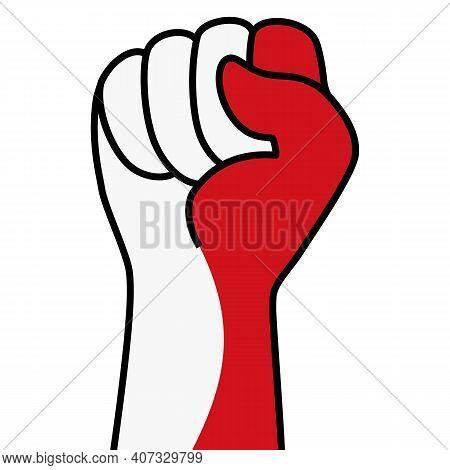 Raised Indonesian Fist Flag. Hand Of Indonesia. Fist Shape Indonesia Flag Color. Patriotic Demonstra