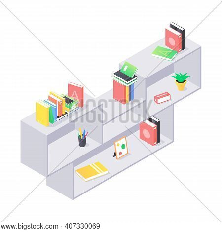 Books And Chancellery On Gray Wooden Bookshelf In Isometric Vector. Stacks Of Hard Cover Paper Liter