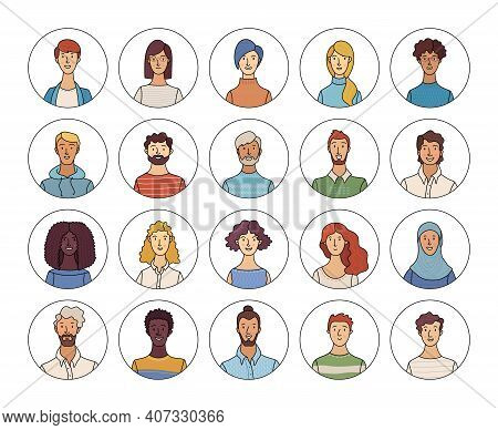 Happy Multinational People Avatars Set. Smiling Adult Men And Women Profile Pictures. Diverse Human