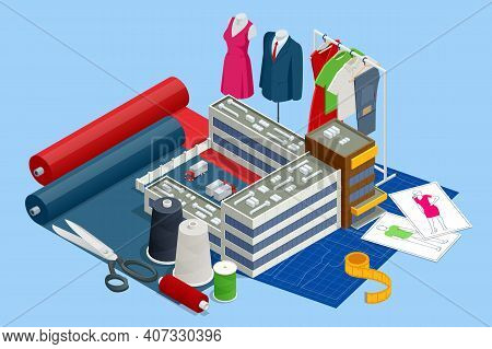Isometric Sewing Workshop Collection. Textile Industry. Sewing Accessories And Fabric On A White Bac