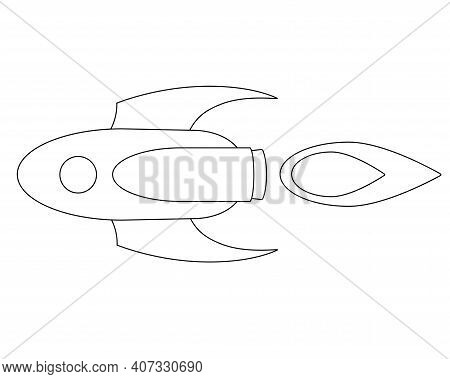 Rocket Flying Horizontally, Spaceship To Mars - Linear Stock Illustration For Coloring. Outline. Sty