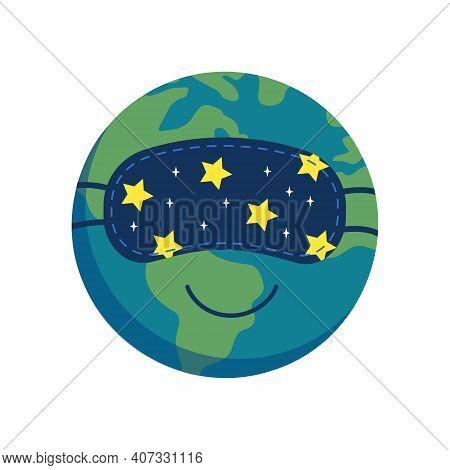 Sleeping Planet Earth Icon In Sleep Mask. Earth Hour. World Sleep Day. Vector Flat Illustration