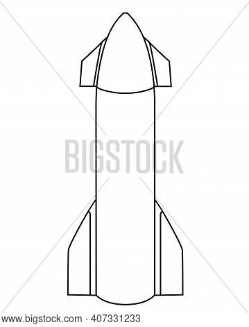 Large Rocket, Spaceship - Vector Linear Illustration For Coloring. Outline. Spaceship.