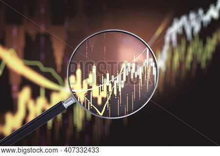 Magnifying Glass With Stock Report On Digital Screen. Forecast And Invest Concept. 3d Rendering