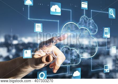 Cloud Service Concept With Man Finger Touching Digital Screen With Cloud Service Application Icons A