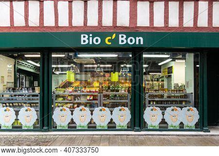 BAYONNE, FRANCE CIRCA FEBRUARY 2021: Bio c' Bon organic supermarket facade. Bio c' Bon is an organic supermarket chain owned by Carrefour.